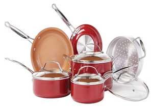 BulbHead Red Copper 10 PC Ceramic Cookware Set