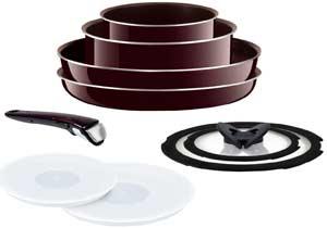 T-FAL detachable handle Ingenio Neo mahogany Premier Cookware set