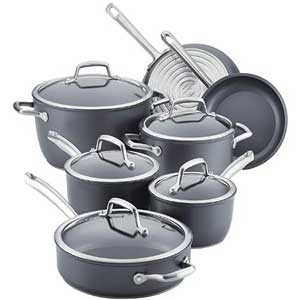 Anolon Accolade Hard-Anodized Cookware Set with Glass Lids