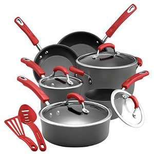 Rachael Ray Brights Hard Anodized Nonstick Cookware 12 Piece with Red Handles